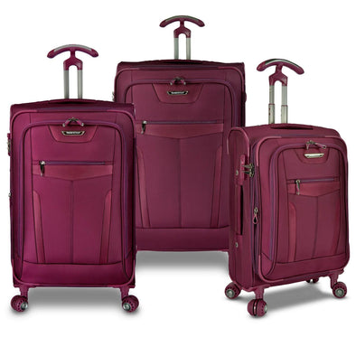 An image of a burgundy luggage set.