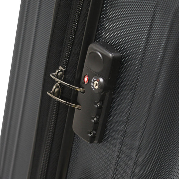 An image of a black luggage with a TSA lock.