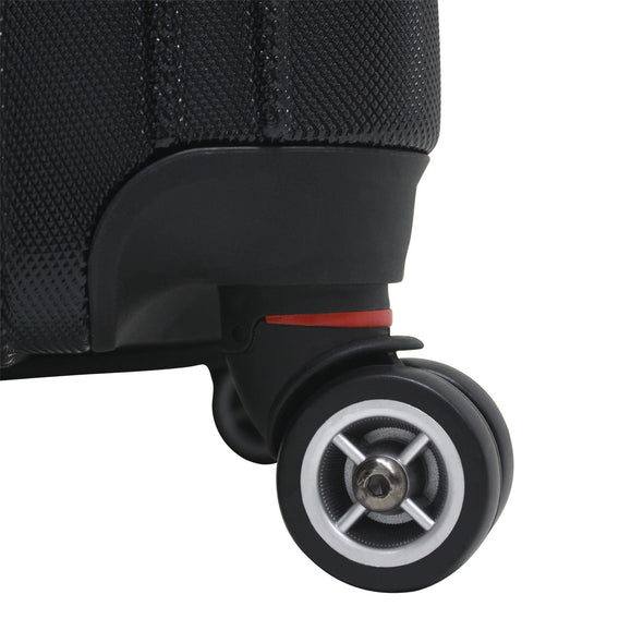 An image of a black luggage and black wheels.
