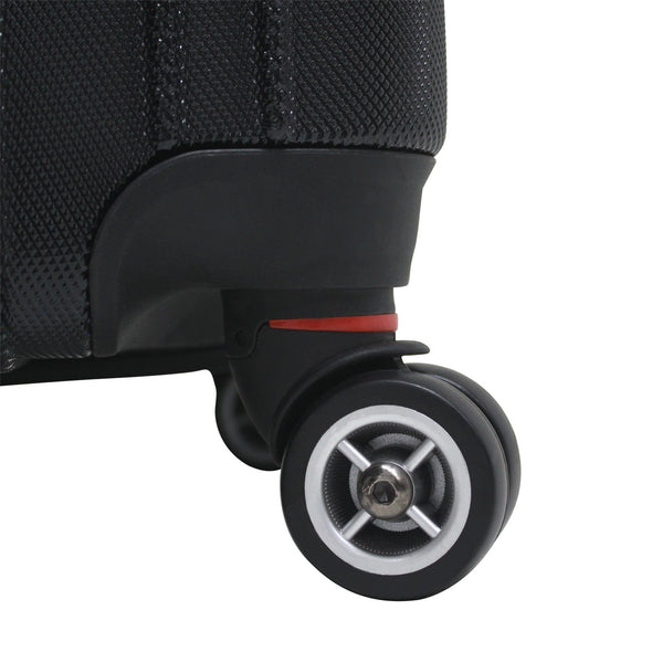 An image of a black luggage and its black wheels.