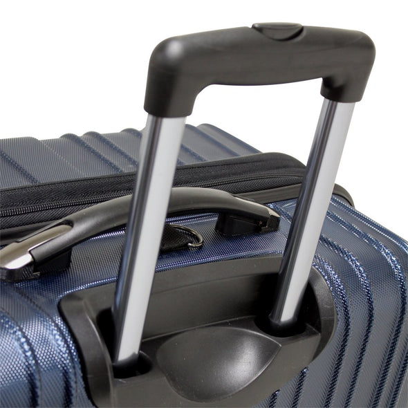 An image of the handle system on a blue luggage.
