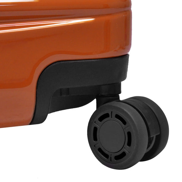 An image of an orange luggage with black wheels.