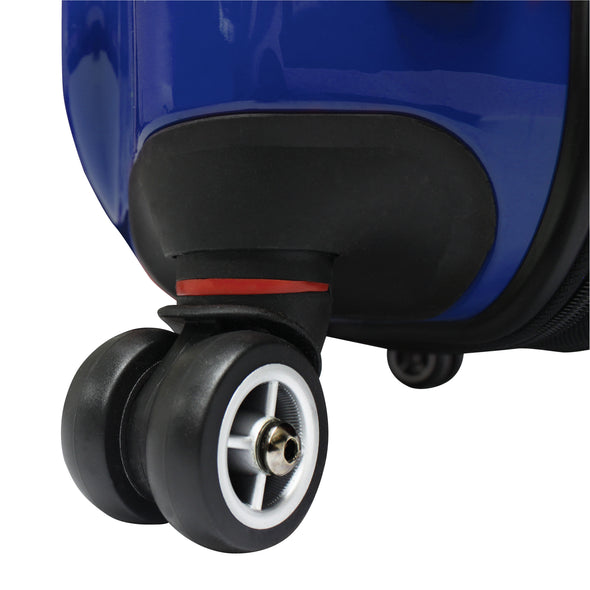 An image of a blue luggage with black wheels.