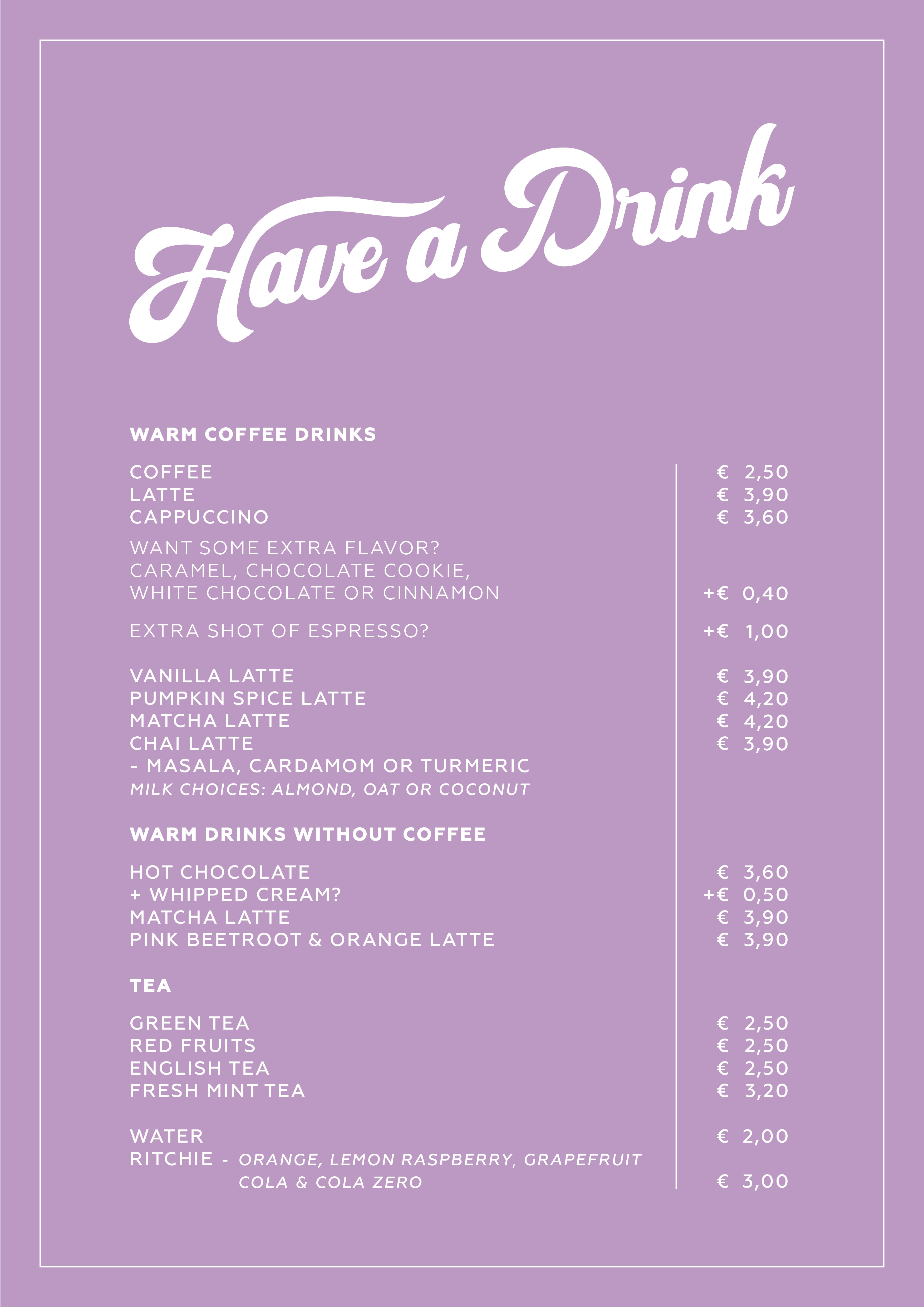 Have a roll - drinks menu