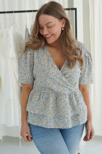 Ella Top - Blue Daisy Flower Print