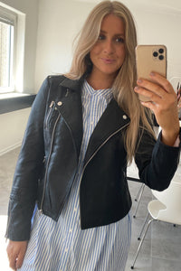 Gemma Faux Leather Jacket - Black