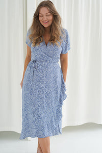 Long Mille Dress  - Blue Printet Small Flower