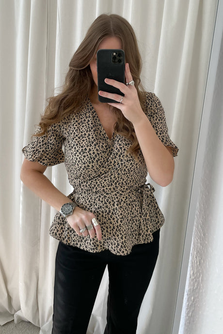 Henna 2/4 Wrap Top - Brown
