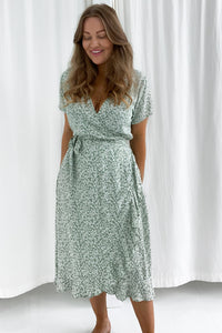 Long Mille Dress - Flower Print Mint Green