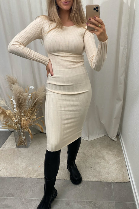 Veronica LS Midi Dress - Beige
