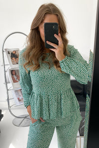 Nadja Top - Flower Print Green