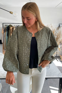 Marie Quiltet Jacket - Green Flower