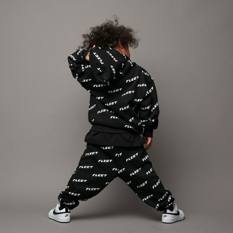 ALL LOGO HOODIE & SWEAT PANTS SET UP (BLK)