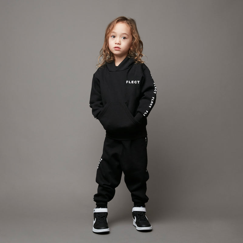 LOGO HOODIE & SWEAT PANTS SET UP (BLK)
