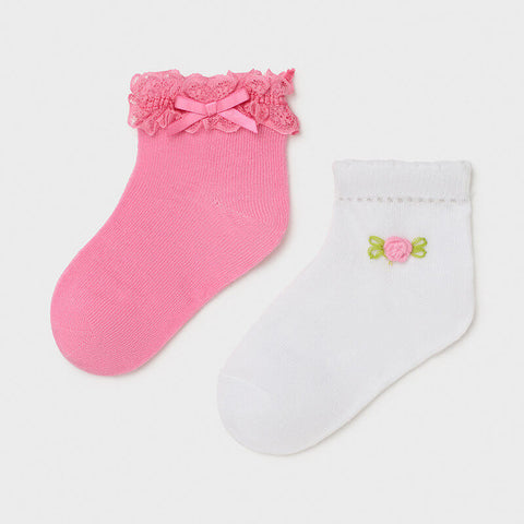 MAYORAL Pink & White Socks