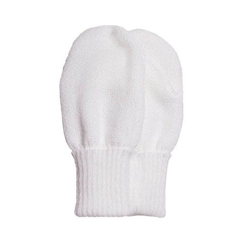 White Unisex Knitted Mittens