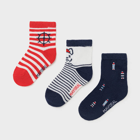 MAYORAL Boys Red & Navy Socks