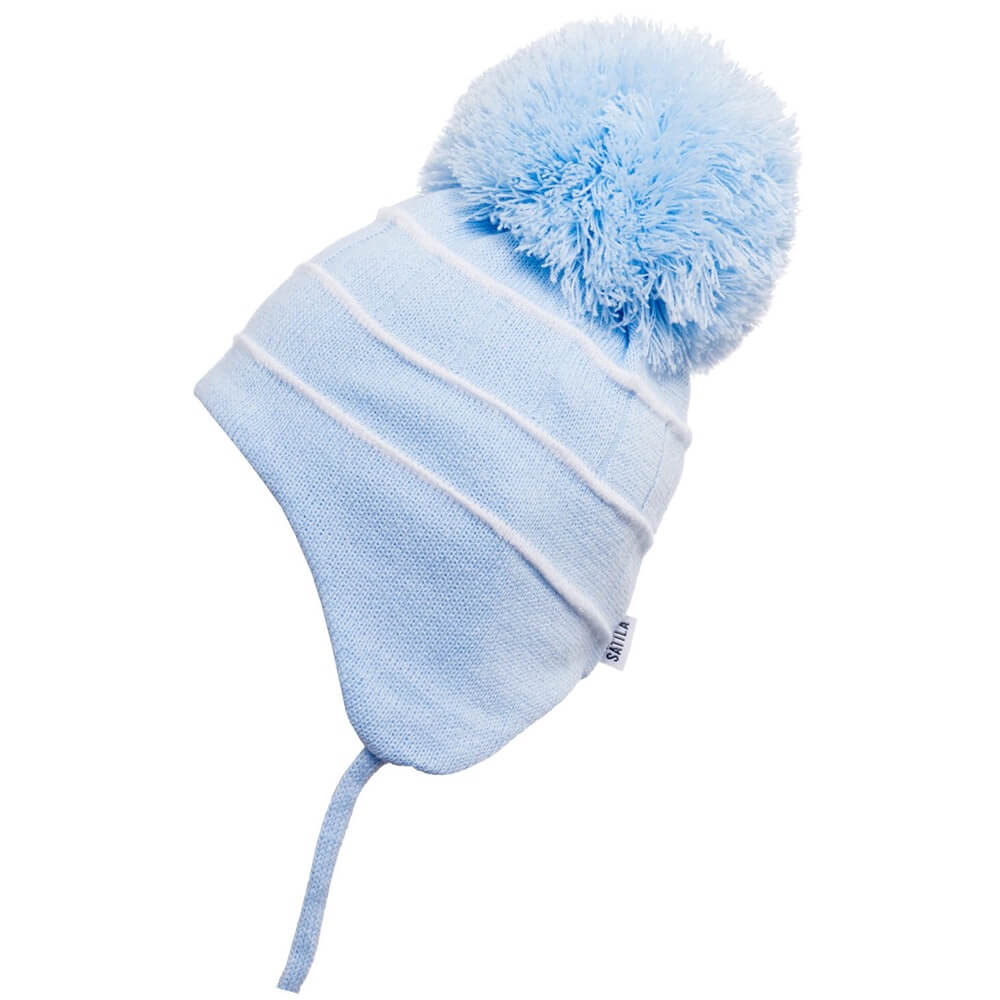 Blue & White Bobby Pom Pom Hat