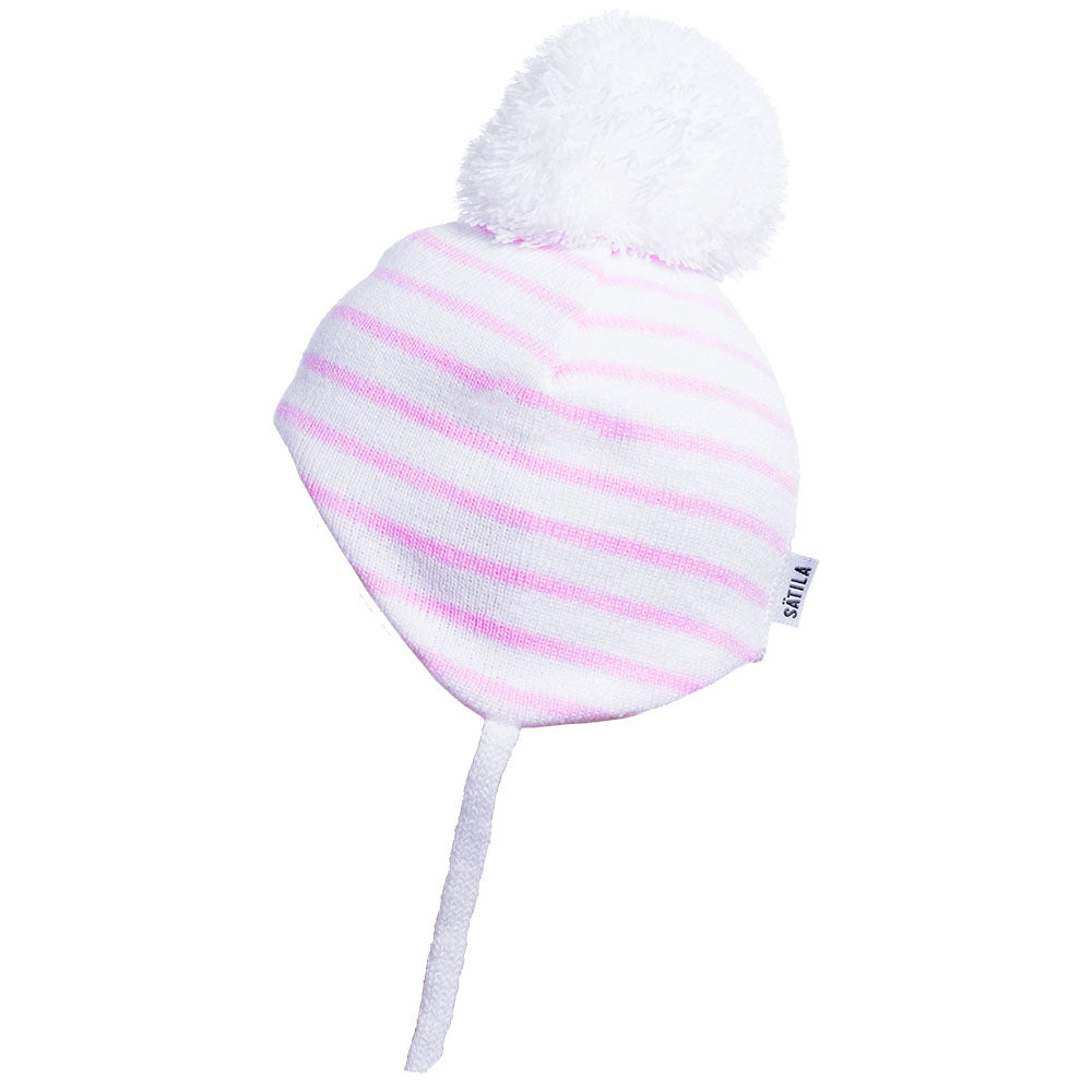 Satila of Sweden Gemini White and Pink Pom Pom Hat