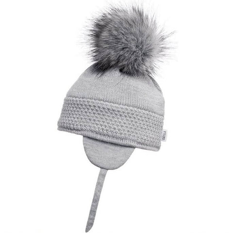 Satila of Sweden Grey Fur Pom-Pom Hat