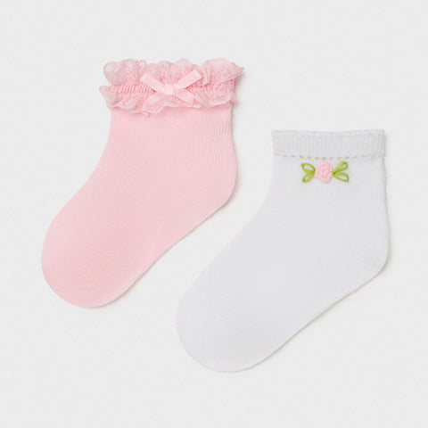 MAYORAL Pale Pink & White Socks