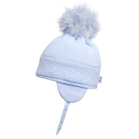 Satila of Sweden Light Blue Daisy Pom Pom Hat