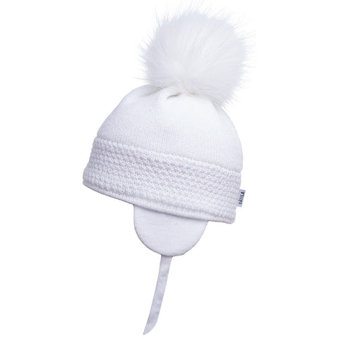 Satila of Sweden White Daisy Pom Pom Hat