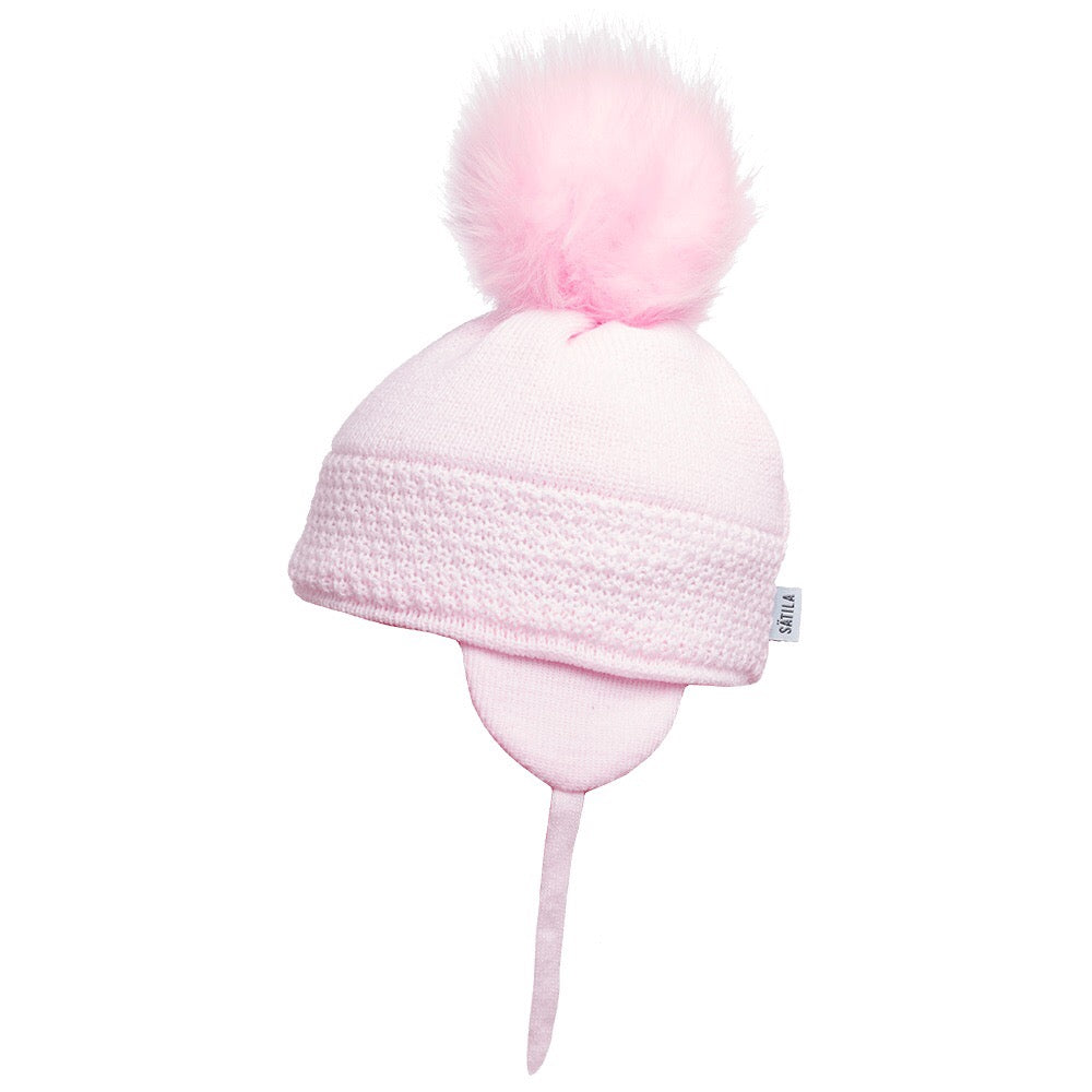 Satila of Sweden Pink Daisy Pom Pom Hat