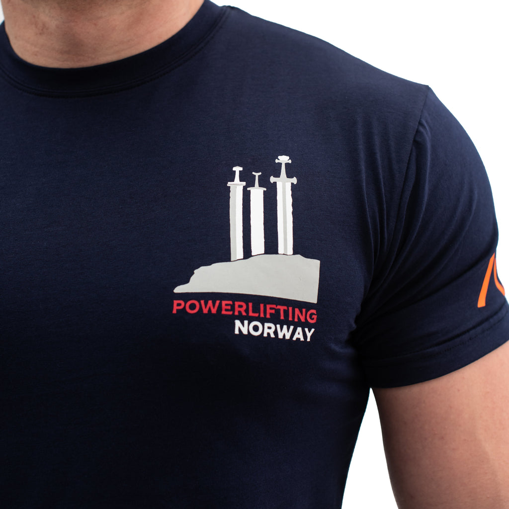 Norway Swords Bar Grip T-shirt, great as a squat shirt. Purchase Norway Swords Bar Grip tshirt UK from A7 UK. Purchase Norway Swords Bar Grip Shirt in Europe from A7 UK. No more chalk and no more sliding. Best Bar Grip Tshirts, shipping to UK and Europe from A7 UK. Norway Swords is our classic black on black shirt design! The best Powerlifting apparel for all your workouts. Available in UK and Europe including France, Italy, Germany, Sweden and Poland