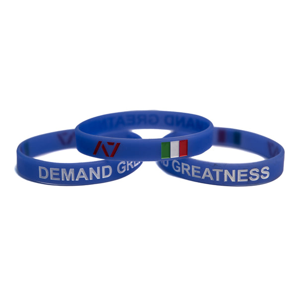 You are always working towards your goals and helping others reach their full potential. Feel the Italian spirit with this country wristband design that incorporates the Italian flag into a wristband and reminds you to always Demand Greatness. The wristband is 1/2 inch wide and features black debossed lettering.
