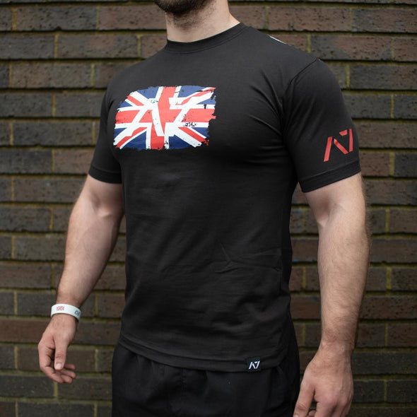 Britannia A7 Bar Grip Crop, great as a squat shirt. Purchase Britannia A7 Bar Grip tshirt from A7 UK. Purchase Britannia A7 Bar Grip Shirt Europe from A7 UK. Best Bar Grip Tshirts, shipping to UK and Europe from A7 UK. Britannia A7 bar grip tshirt has a unique distressed union jack flag print with A7 logo on the front and Union Jack flag Bar Grip pattern on the back! The best Powerlifting apparel for all your workouts. Available in UK and Europe including France, Italy, Germany, Sweden and Poland