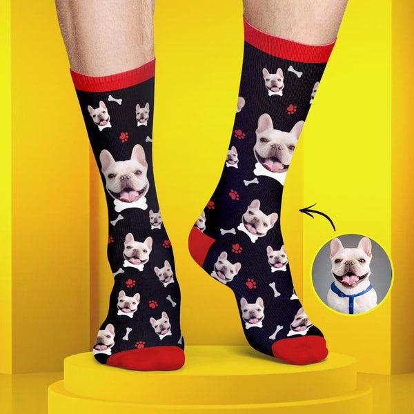 Custom Dog Face Socks Colorful Candy Series