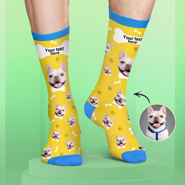 Custom Dog Face and Name Socks Candy Colors