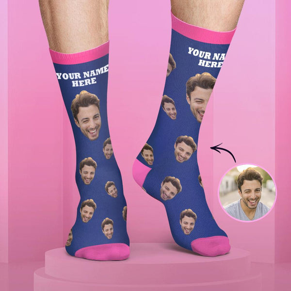 Custom Face and Name Socks Candy Colors