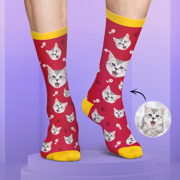 Colorful Candy Series Custom Cat Face Socks