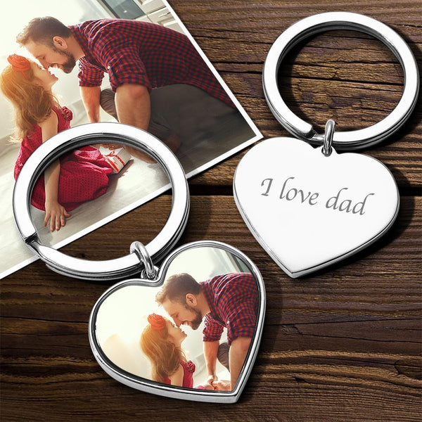 Custom Heart Tag Photo Keychain Silver