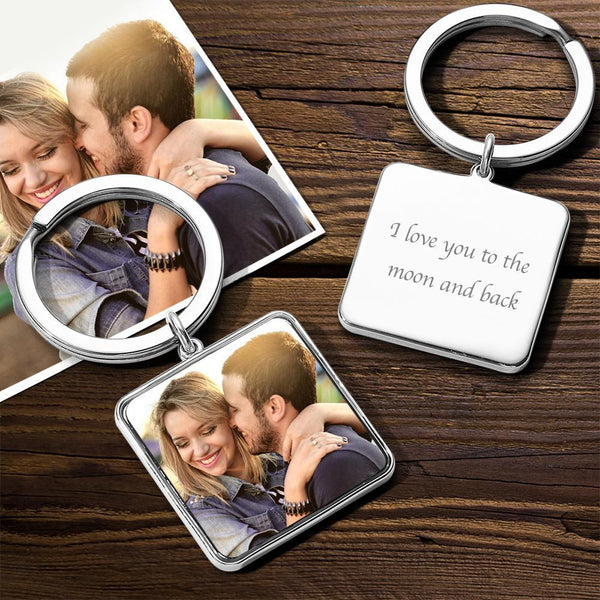 Custom Square Tag Photo Keychain Silver