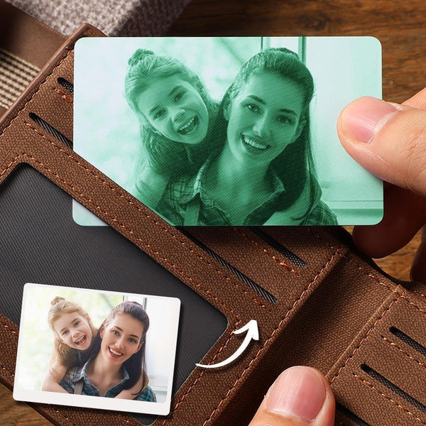 Custom Photo Wallet Insert Card Green