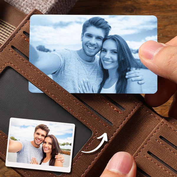 Custom Photo Wallet Insert Card Blue