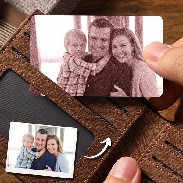 Custom Photo Wallet Insert Card Brown