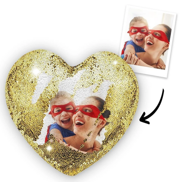 Custom Photo Magic Heart Sequin Pillow Golden