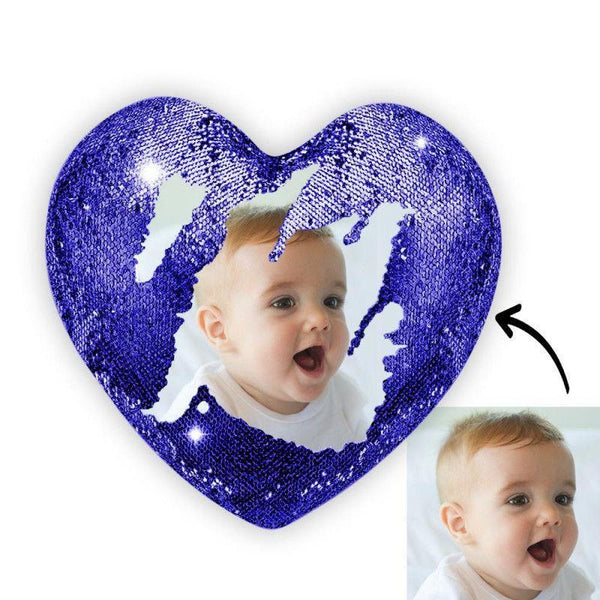 Custom Photo Magic Heart Sequin Pillow Blue