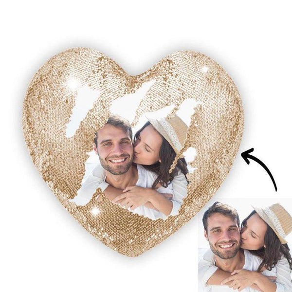 Custom Photo Magic Heart Sequin Pillow Champagne