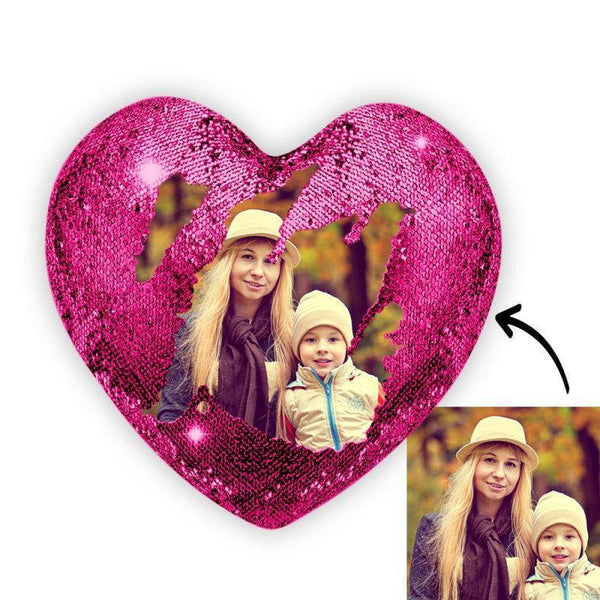 Custom Photo Magic Heart Sequin Pillow Pink
