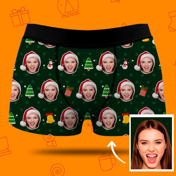 Christmas Men's Custom Face Boxer Shorts