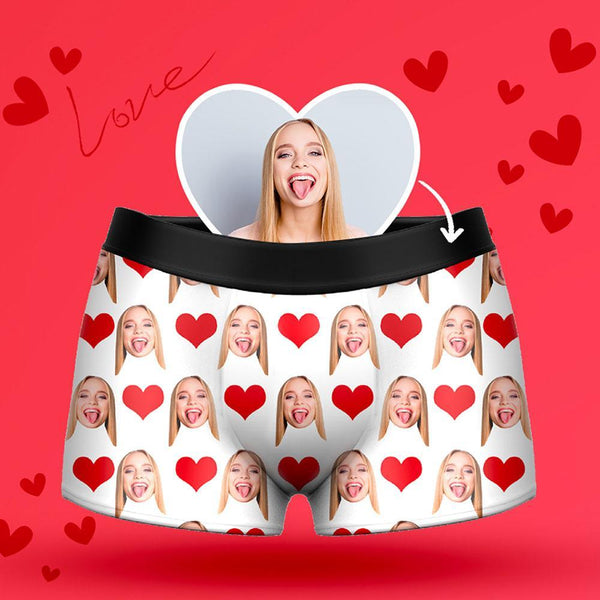 Custom Heart Men's Face Boxer Shorts