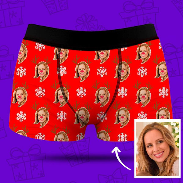 Men's Custom Face Boxer Shorts - Christmas Reindeer & Snowflake