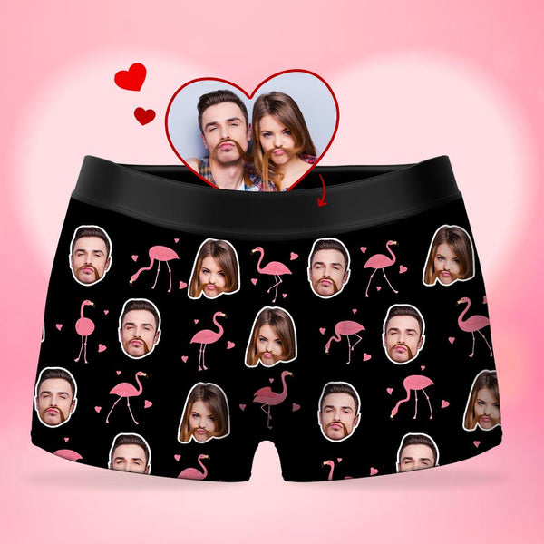 Custom Men's Face Boxer Shorts - Flamingo