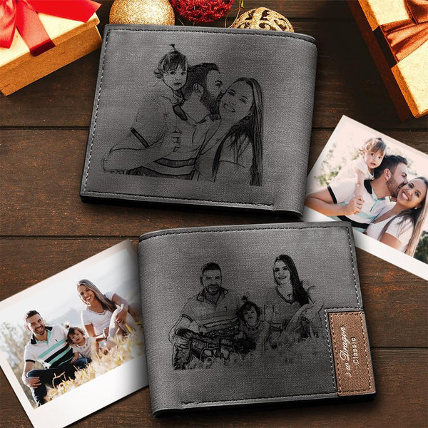 Custom Short Double-Sided Photo Wallet Grey