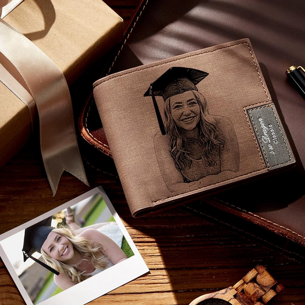 Men's Custom Photo Engraved Wallet | Graduation Gifts